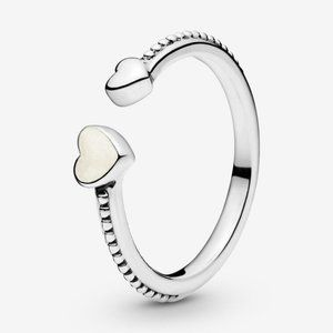 🍓Pandora Beaded Two Hearts Open Ring